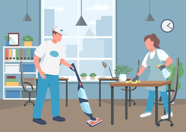 Premium Vector | Office cleaning house flat color . janitors 2d cartoon characters with corporate workplace on background. cleaning business, janitorial service. workplace hygiene maintenance