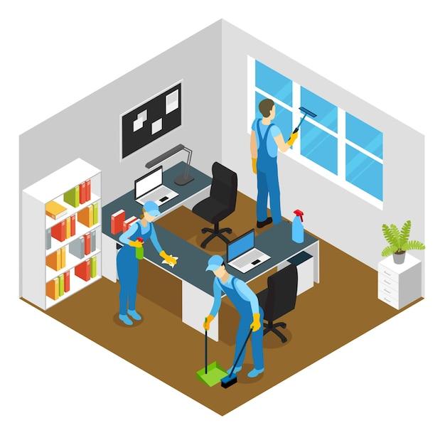 オフィスクリーニング等尺性組成物 無料ベクター