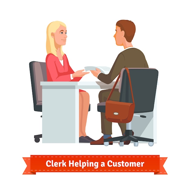 Office clerk working with customer Free Vector