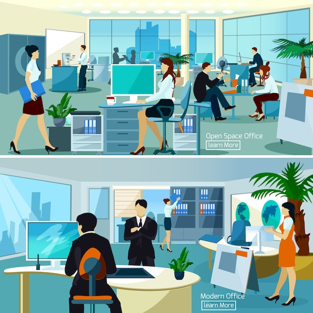 Office compositions with working people Free Vector