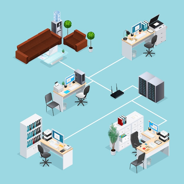 Office computer net isometric Free Vector