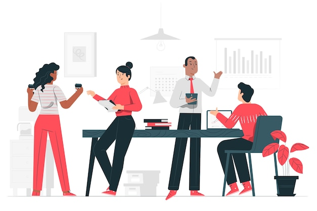 On the office concept illustration Free Vector