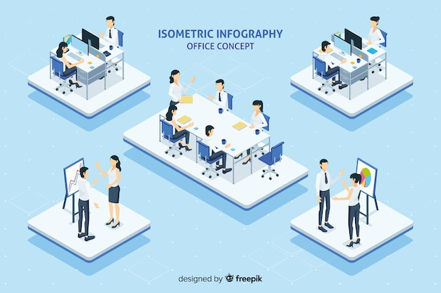 Office concept infographic Free Vector