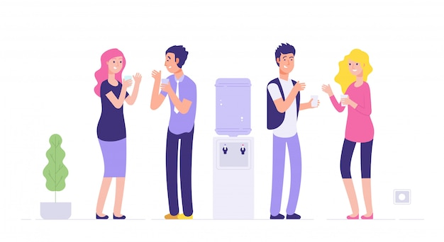 Office cooler break. man and woman drinking water young people talking at cooler social informal meeting business  concept Premium Vector
