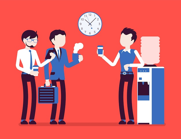 Office cooler chat. young male workers having informal conversation around a watercooler at workplace, colleagues refreshing during a break.  illustration with faceless characters Premium Vector