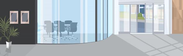 Офисный коридор со стеклянным пространством открытого пространства пустая комната для переговоров современный бизнес центр интерьер Premium векторы