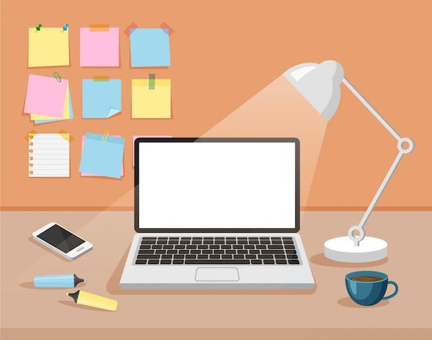 Вид спереди творческого пространства офиса. шаблон рабочего пространства. современное рабочее место бизнеса с пустым белым дисплеем компьютера, канцелярскими наклейками, настольной лампой, телефоном, фломастерами, чашкой. векторная иллюстрация. Premium векторы