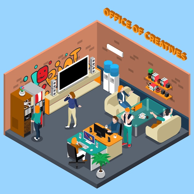 Office of creatives isometric illustration Free Vector