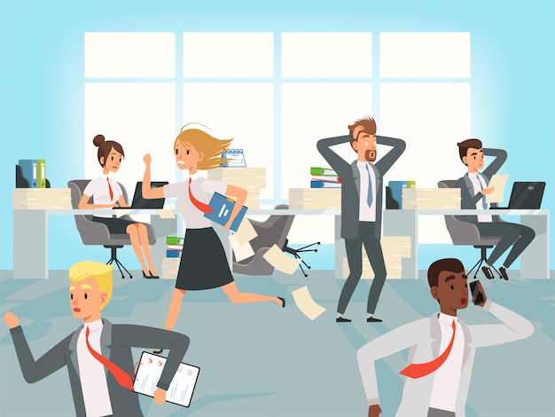 Office deadline. business workers managers stress running on workplaces at work  characters Premium Vector