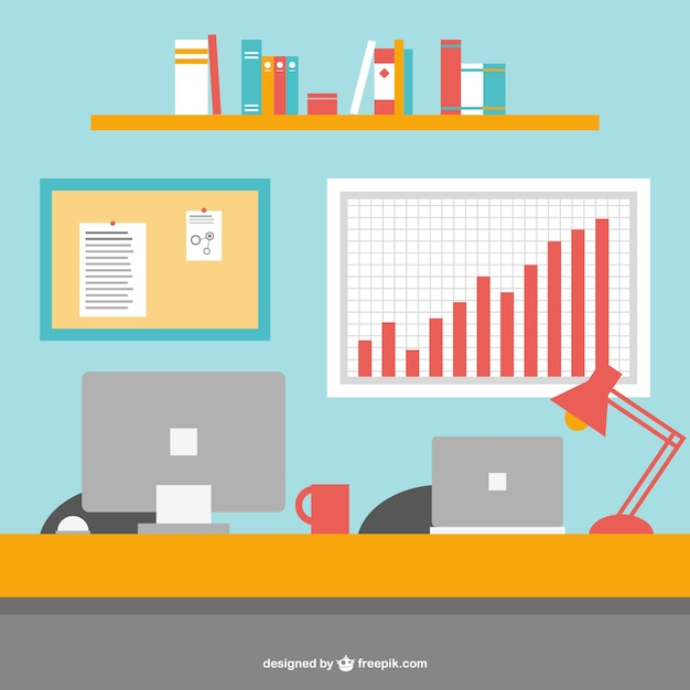 Office Desk And Computers Vector Free Download