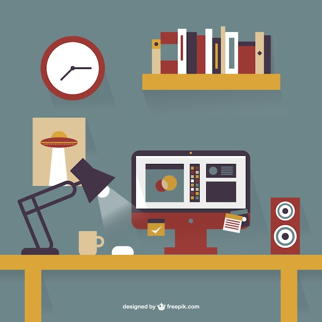 Office Desk Flat Design Vector Free Download Extraordinary Graphic Design Office Furniture