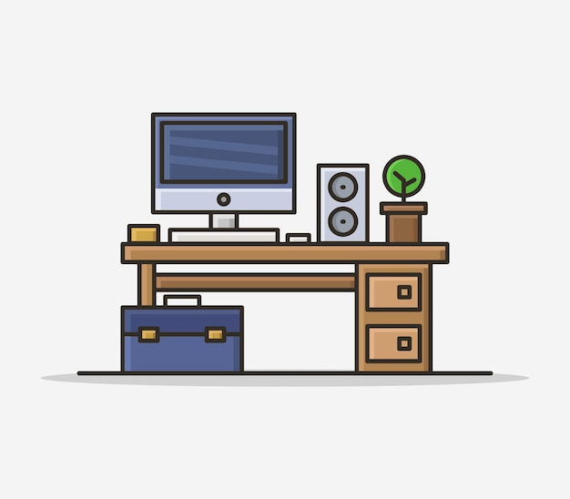 Office desk illustrated in cartoon Free Vector
