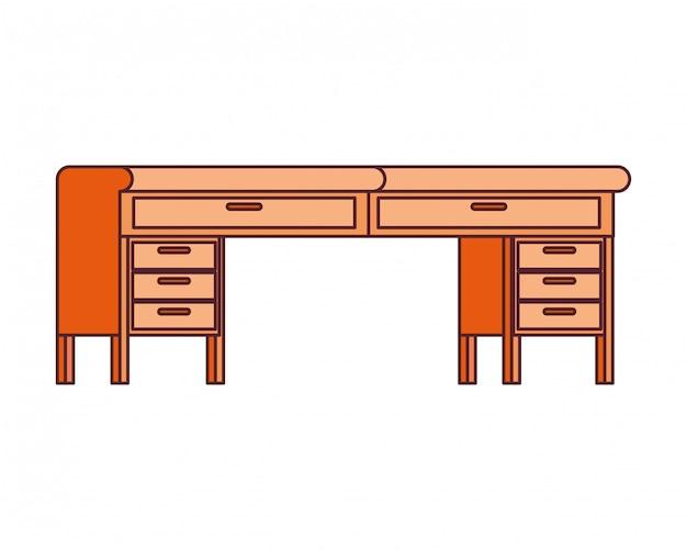 Office desk in wooden Free Vector
