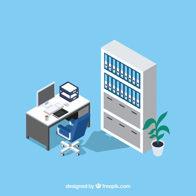 Office desk Free Vector