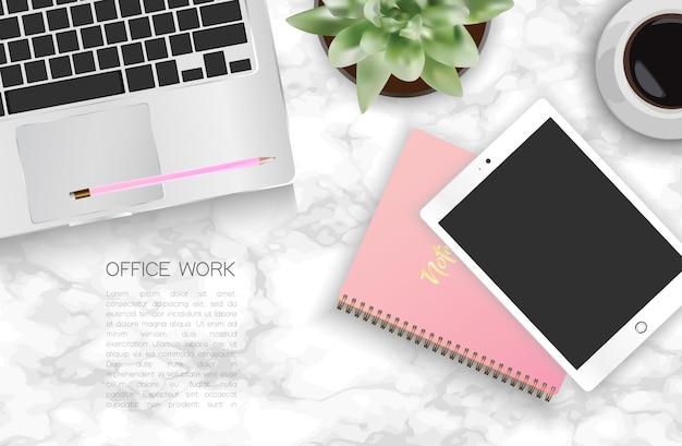 Office desk. Premium Vector