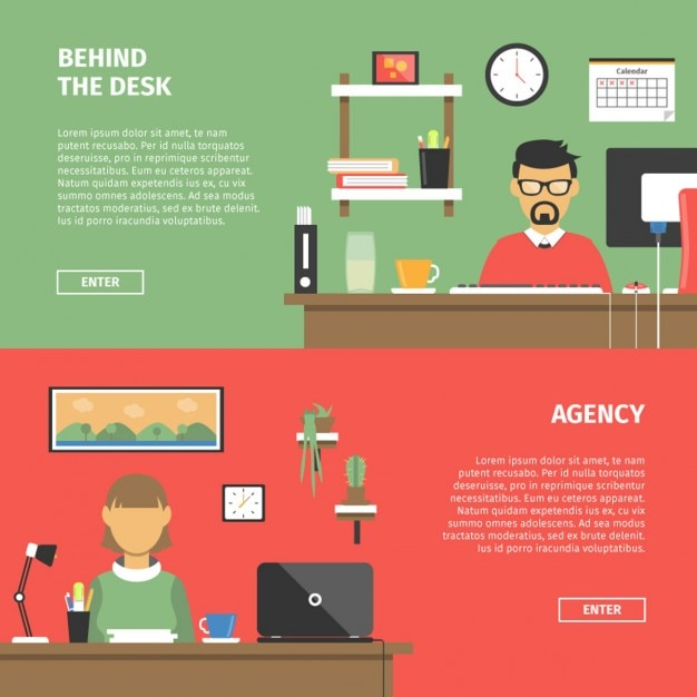 Office desktop banners in flat design vector free download for Flat design pictures