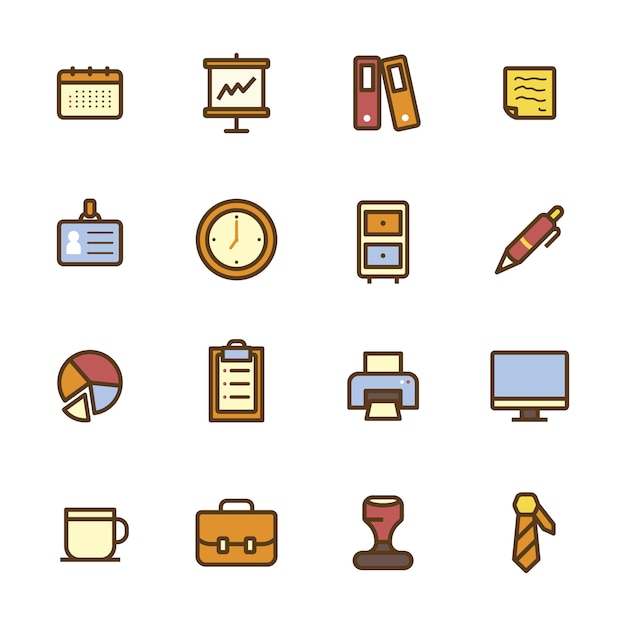 Office elements icon collection Free Vector