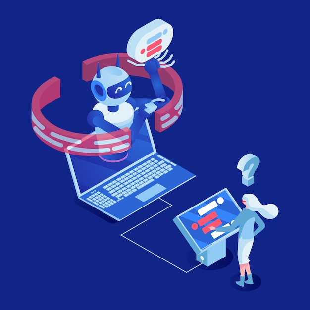 Office employee working with digital display 3d cartoon character Premium Vector
