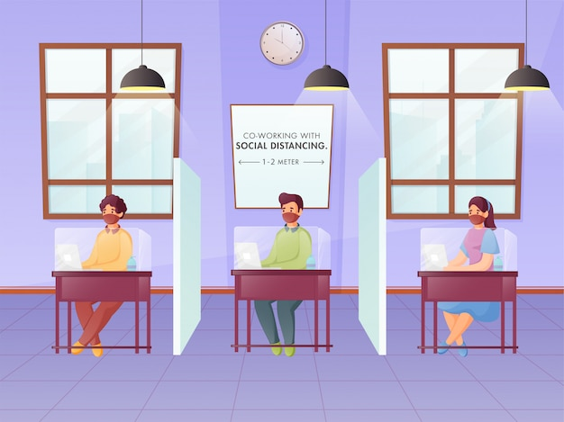 Premium Vector | Office employees maintaining social distance during work at seperate plexiglass workplace to prevent from coronavirus.