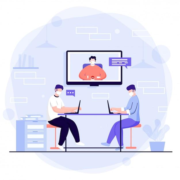 Сотрудники офиса, работающие вместе на рабочем месте с помощью видеоконференции для поддержания социального дистанцирования. Premium векторы