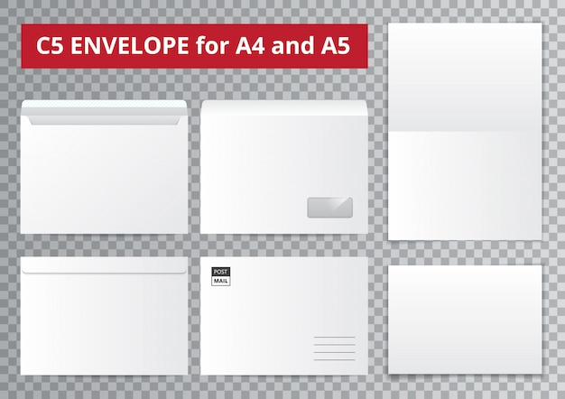 Office envelopes transparent collection Free Vector