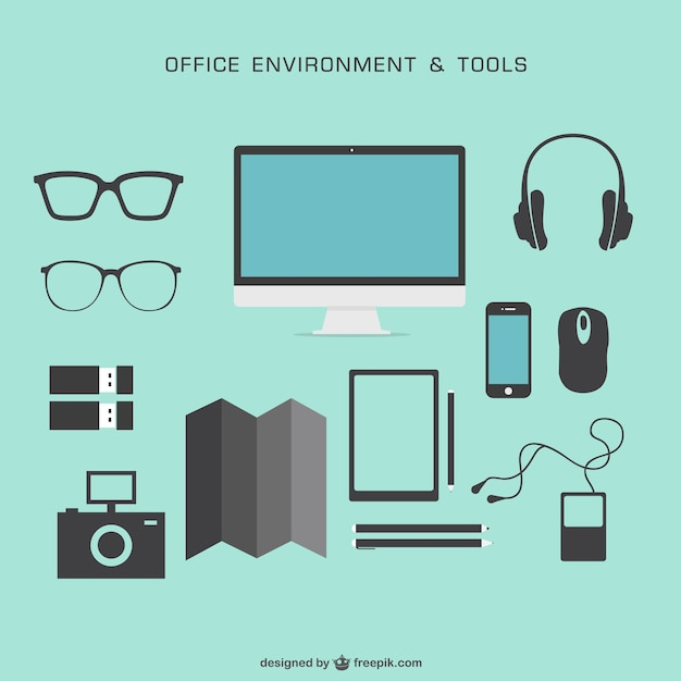 Office environment and tools Free Vector