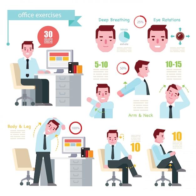 Office exercises Premium Vector