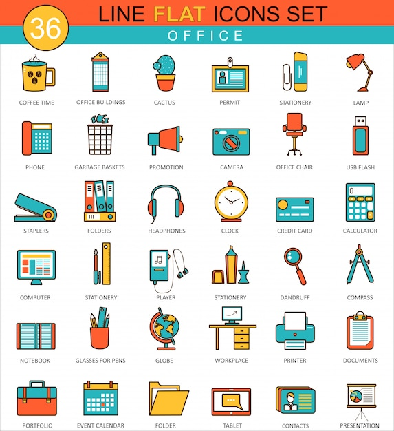 Office flat line icons set Premium Vector