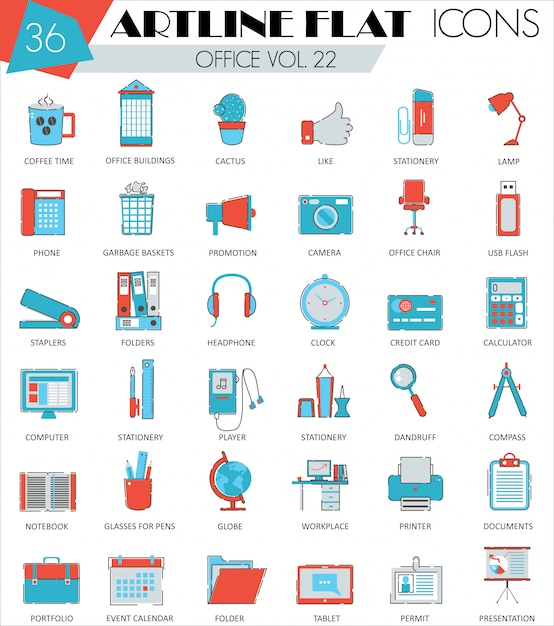 Office flat line icons set Premium Vector