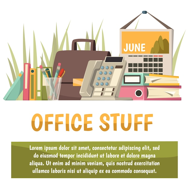 Office flat orthogonal background Free Vector