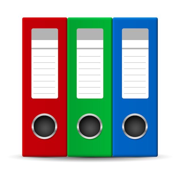 Office folders in three colors Premium Vector