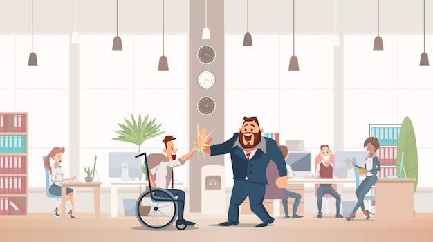 Office fun concept. coworking workspace. Premium Vector