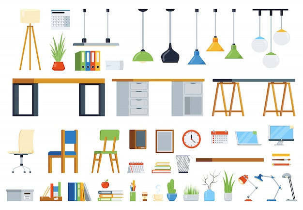 Office furniture, accessories and plants. creation kit of workplace. set of vector elements Premium Vector