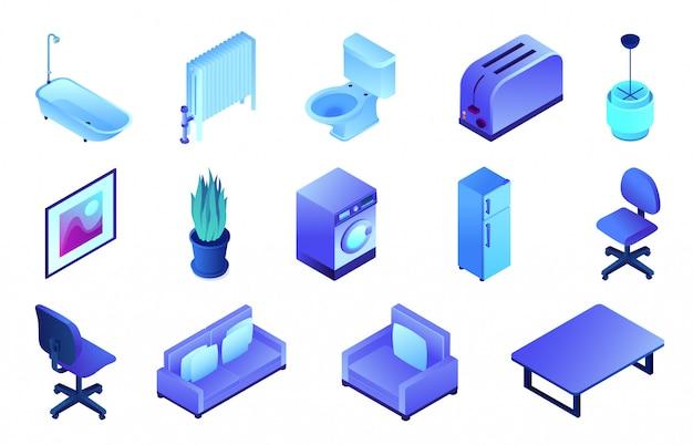 Office furniture and bathroom isometric 3d illustration set. Premium Vector