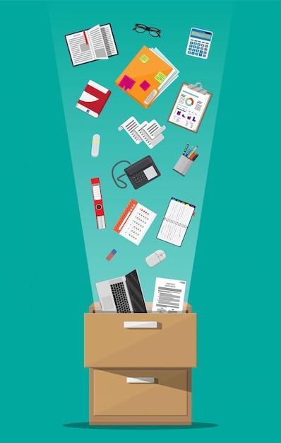 事務用家具。ケース、フォルダー付きボックス、ドキュメントペーパー、カレンダー、電卓、ラップトップと鉛筆、眼鏡、本、リングバインダー、電話。キャビネット、ロッカー引き出しフラットデザインのベクトル図 Premiumベクター
