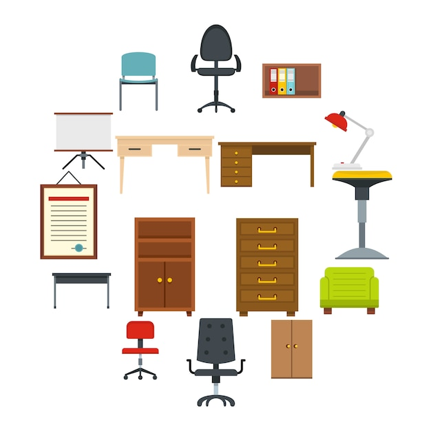 Office furniture icons set in flat style Premium Vector