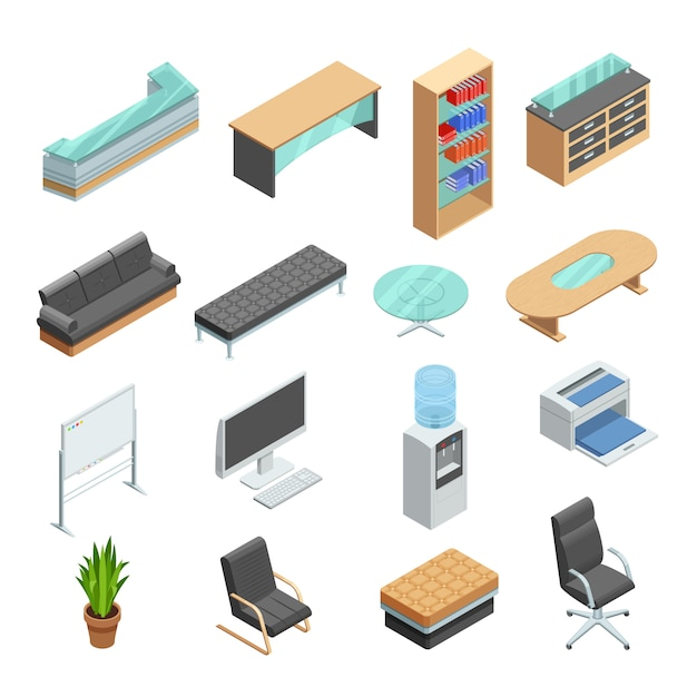 Office furniture isometric icons set Free Vector