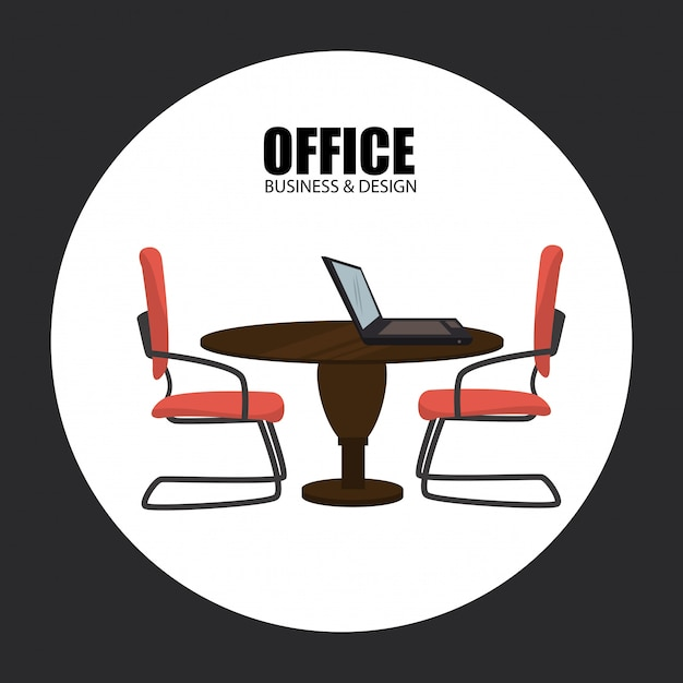 Office over gray Free Vector