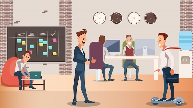 Office group of creative people work together Premium Vector
