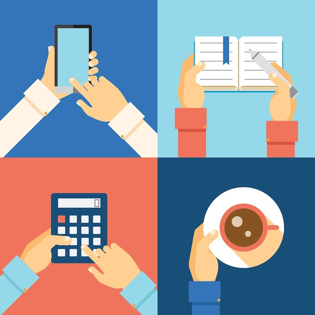 Office hands: smartphone, calculator, cup of coffee and taking notes Free Vector