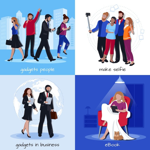 Office home gadgets 4 flat icons Free Vector