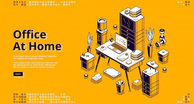 Office at home, workplace isometric banner Free Vector