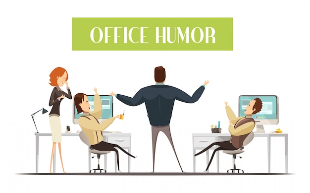 Office humor design in cartoon style with laughing men and woman Free Vector
