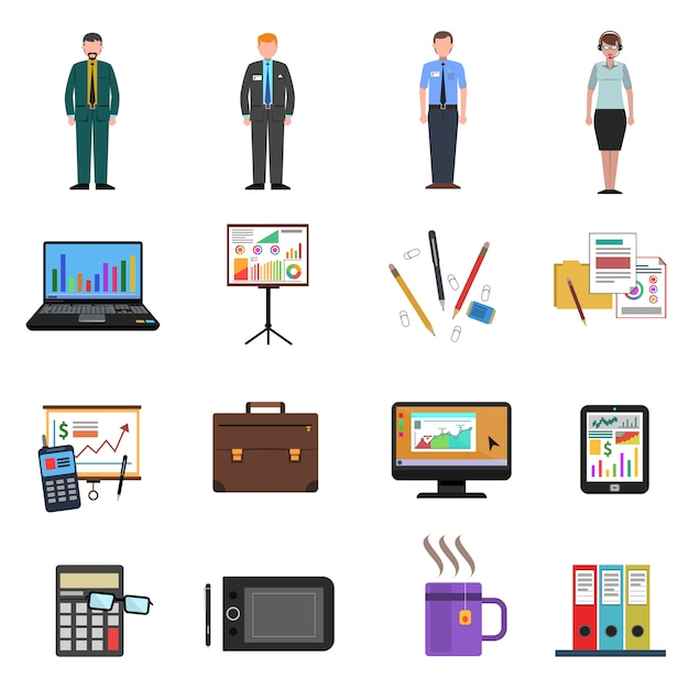Office icons flat set Free Vector