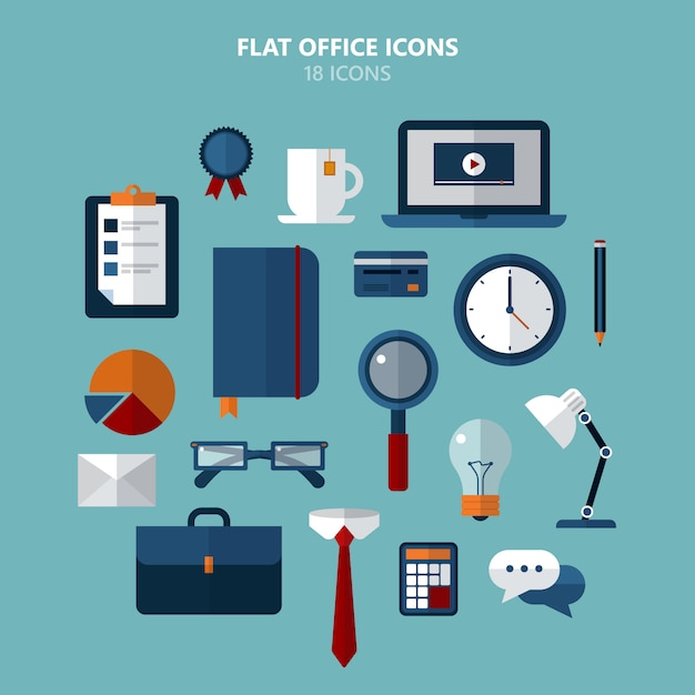 Office icons set in flat style Premium Vector
