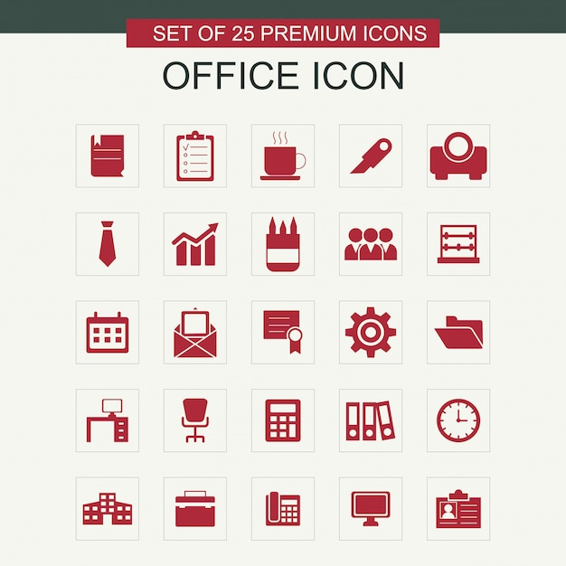 Office icons set Free Vector