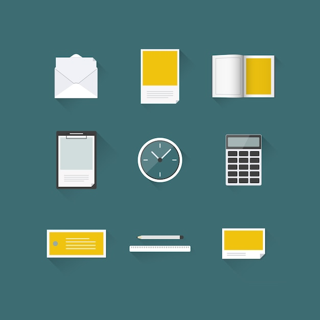 Office iconset mockup with long shadow Premium Vector