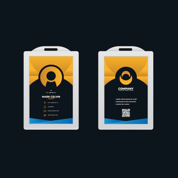 Office id card template with gradient design Premium Vector