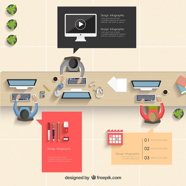 Office infographic Free Vector