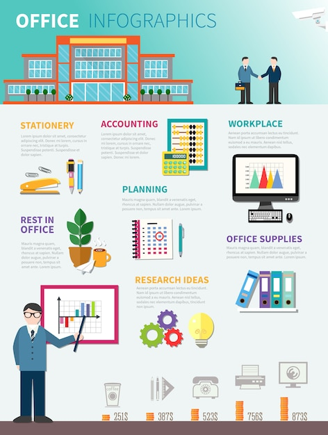 Office infographics flat template Free Vector